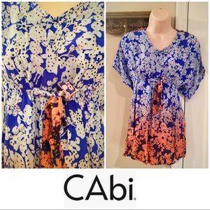 CAbi blue & orange floral batwing tunic. Nwot